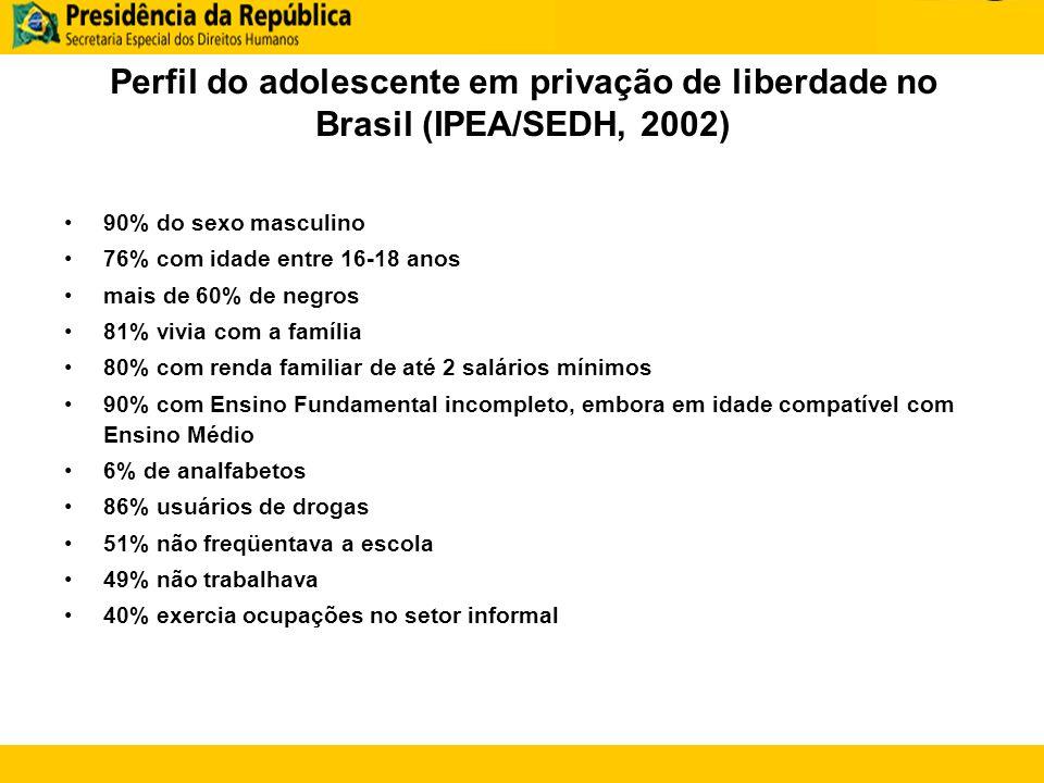 Perfil do adolescente em privação de liberdade no Brasil (IPEA/SEDH, 2002)