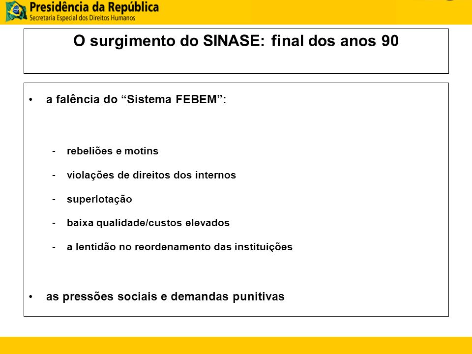 O surgimento do SINASE: final dos anos 90