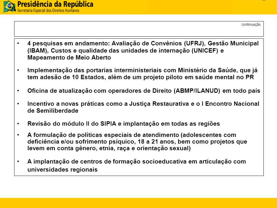 Revisão do módulo II do SIPIA e implantação em todas as regiões