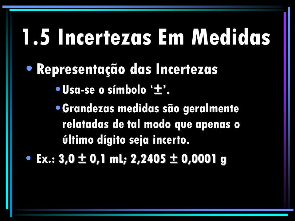 1.5 Incertezas Em Medidas Representação das Incertezas