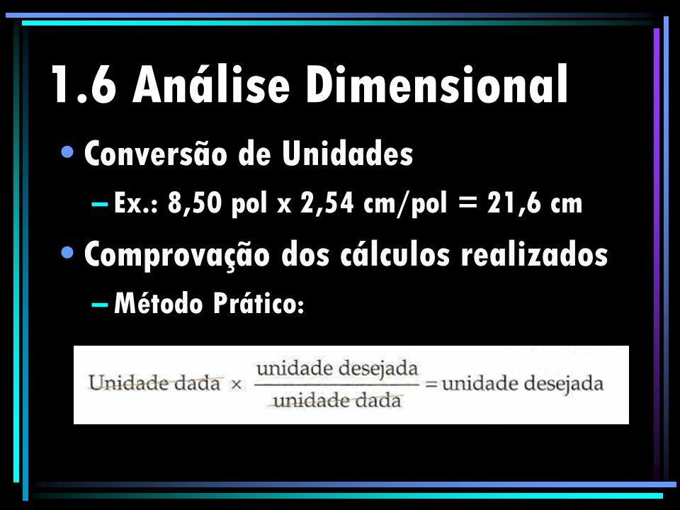 1.6 Análise Dimensional Conversão de Unidades