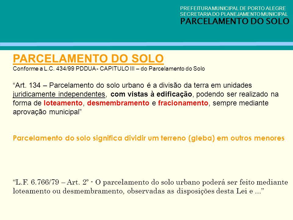 PARCELAMENTO DO SOLO PARCELAMENTO DO SOLO