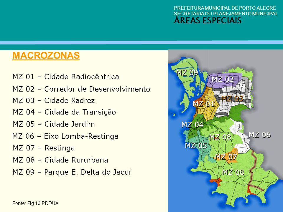MACROZONAS ÁREAS ESPECIAIS MZ 09 MZ 01 – Cidade Radiocêntrica MZ 02
