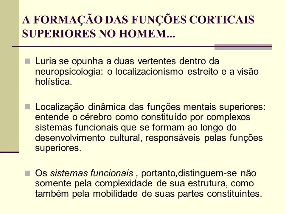 A FORMAÇÃO DAS FUNÇÕES CORTICAIS SUPERIORES NO HOMEM...