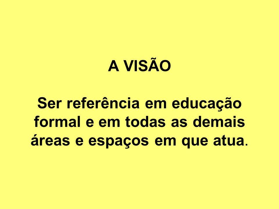 A VISÃO Ser referência em educação formal e em todas as demais áreas e espaços em que atua.