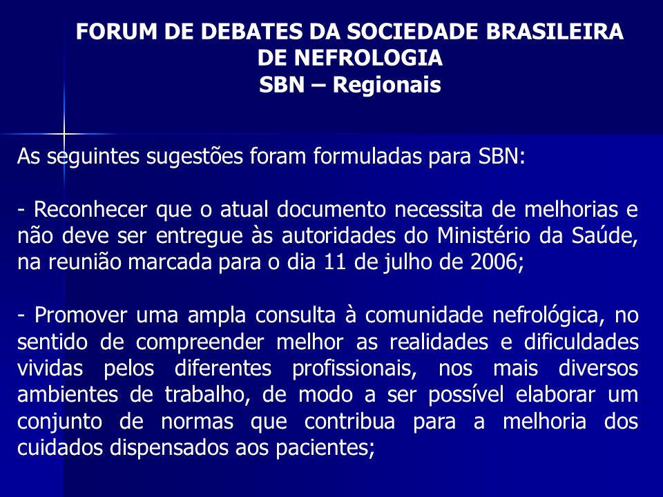 FORUM DE DEBATES DA SOCIEDADE BRASILEIRA DE NEFROLOGIA