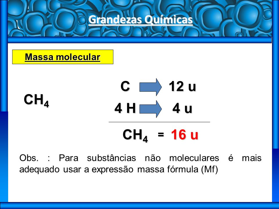 C 12 u CH4 4 H 4 u CH4 16 u Grandezas Químicas = Massa molecular