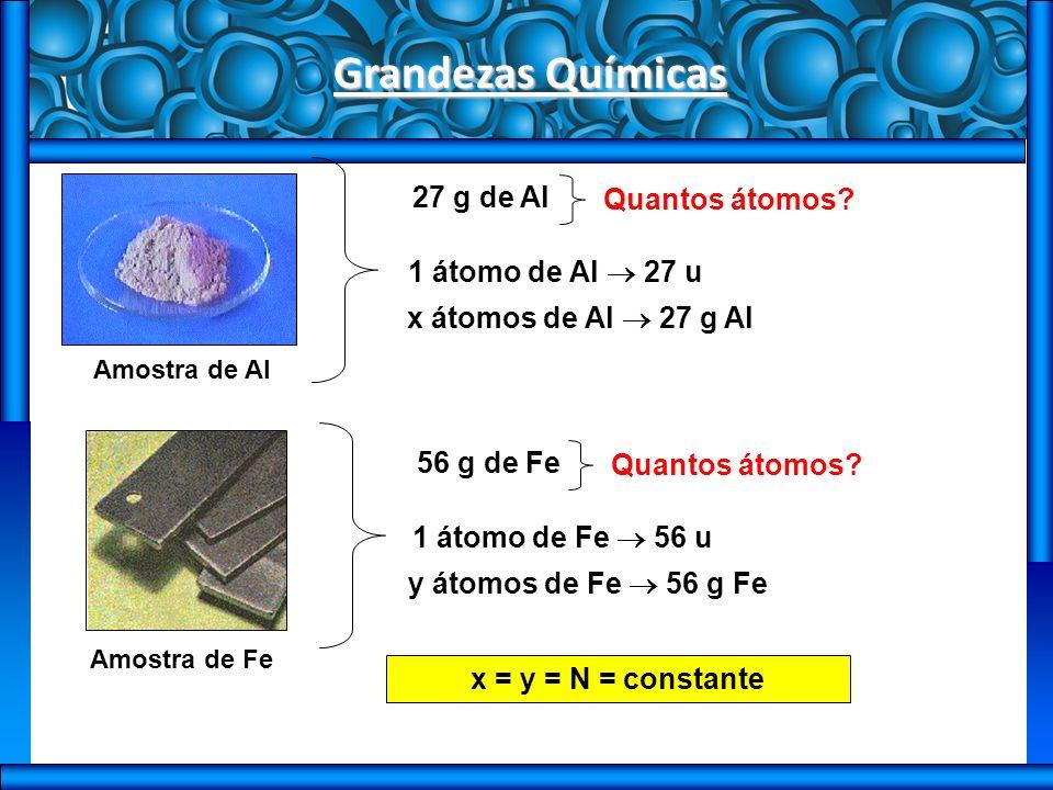 Grandezas Químicas 27 g de Al Quantos átomos 1 átomo de Al  27 u