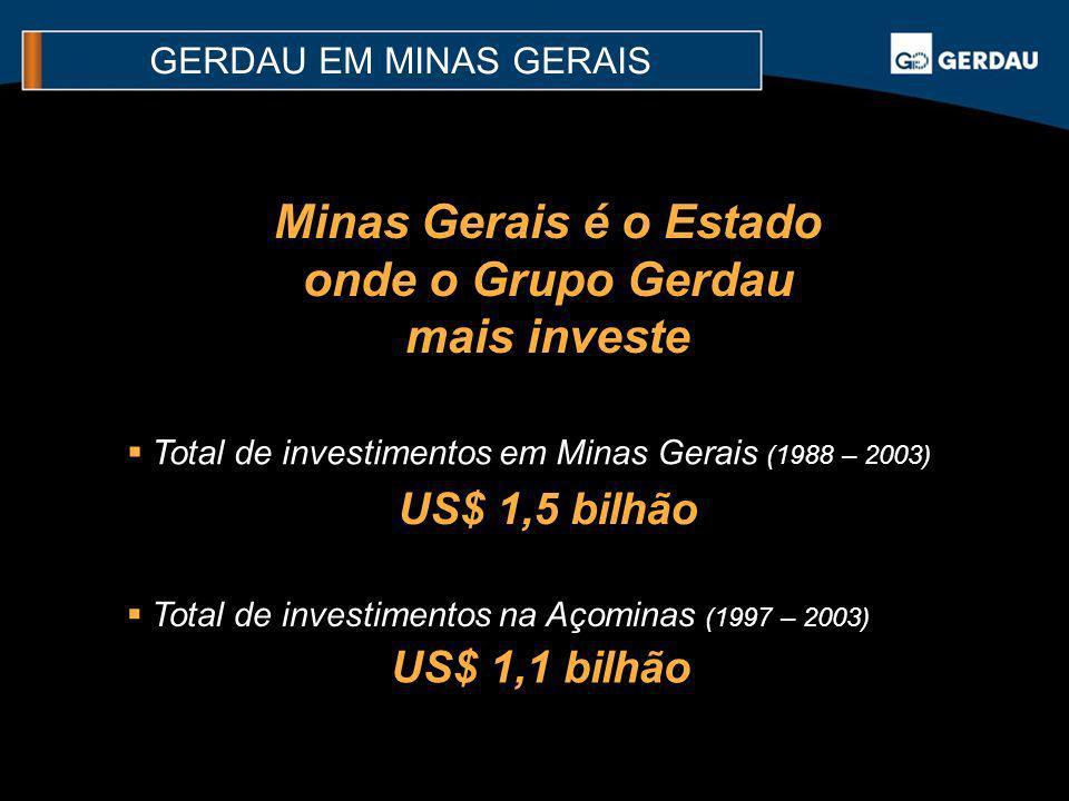 Minas Gerais é o Estado onde o Grupo Gerdau