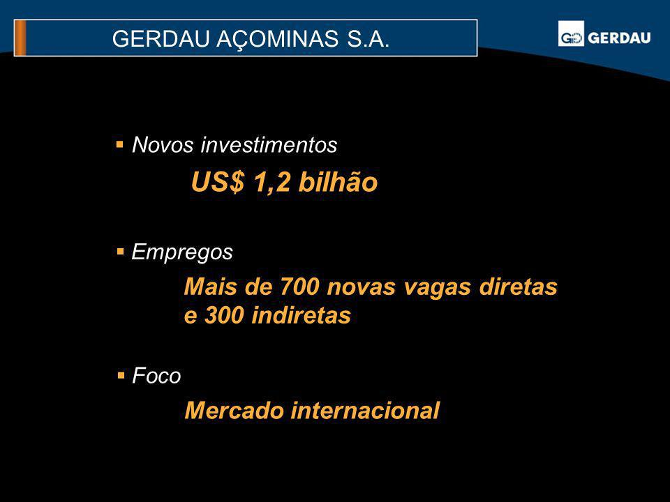 US$ 1,2 bilhão Mais de 700 novas vagas diretas e 300 indiretas