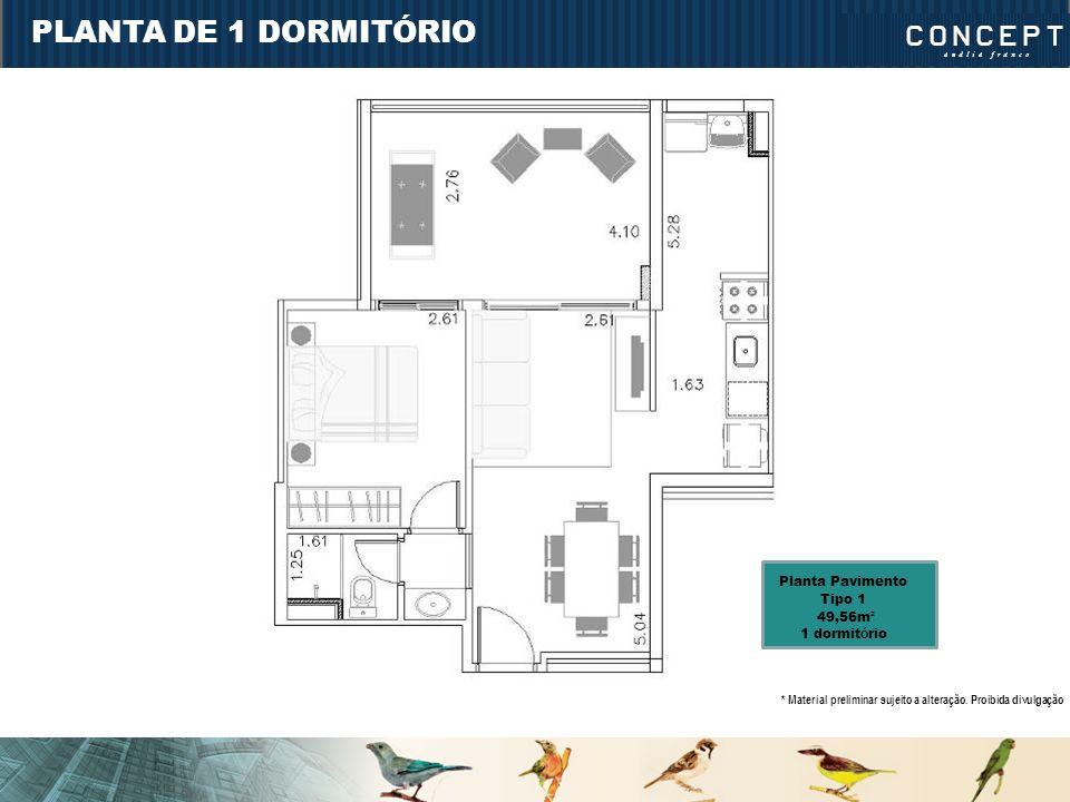 PLANTA DE 1 DORMITÓRIO Planta Pavimento Tipo 1 49,56m² 1 dormitório
