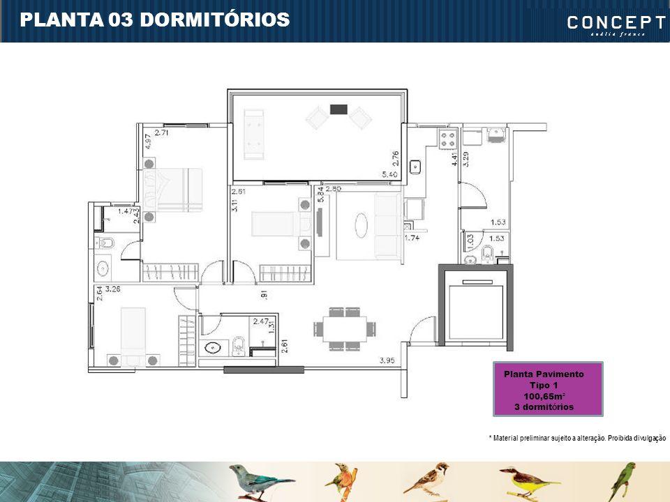 PLANTA 03 DORMITÓRIOS Planta Pavimento Tipo 1 100,65m² 3 dormitórios