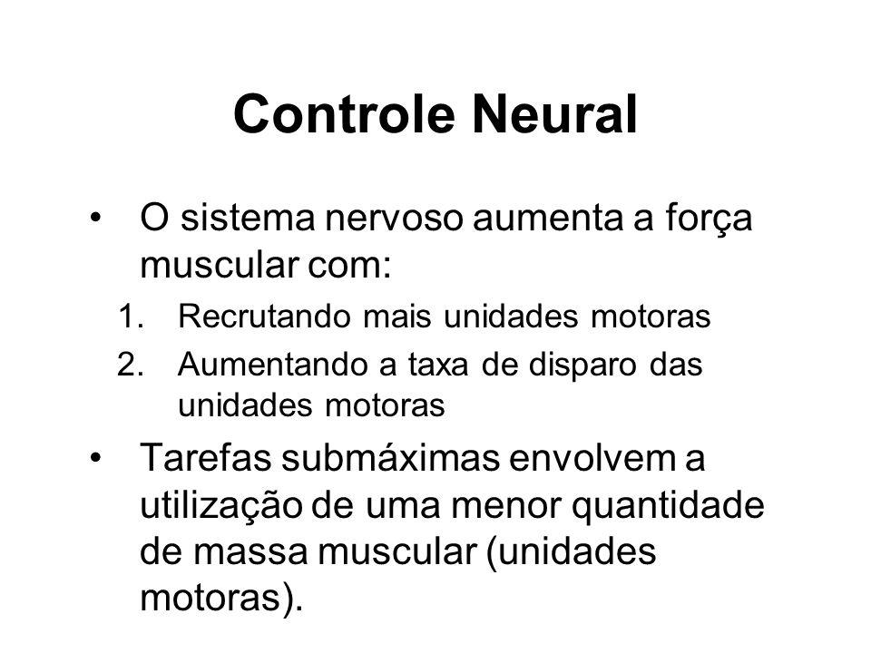 Controle Neural O sistema nervoso aumenta a força muscular com: