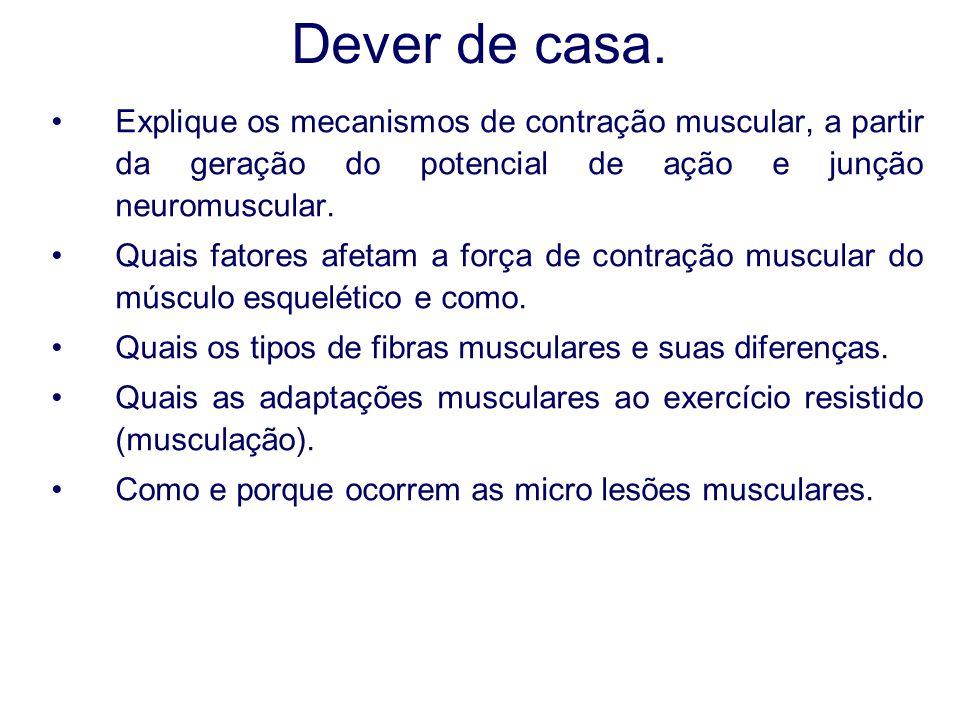 Dever de casa. Explique os mecanismos de contração muscular, a partir da geração do potencial de ação e junção neuromuscular.