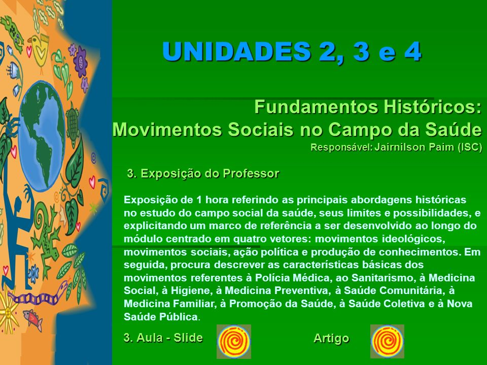 UNIDADES 2, 3 e 4 Fundamentos Históricos: Movimentos Sociais no Campo da Saúde. Responsável: Jairnilson Paim (ISC)