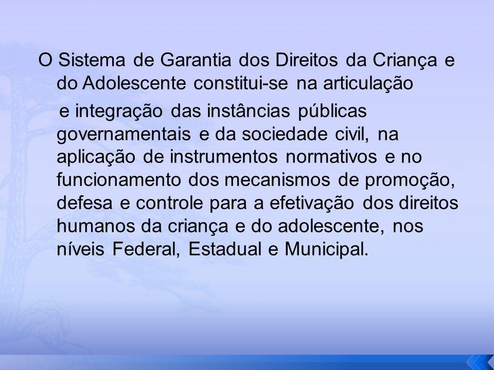 O Sistema de Garantia dos Direitos da Criança e do Adolescente constitui-se na articulação
