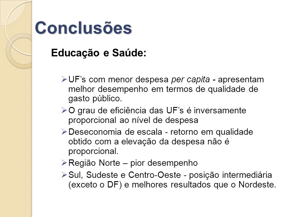 Conclusões Educação e Saúde: