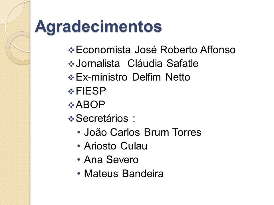 Agradecimentos Economista José Roberto Affonso