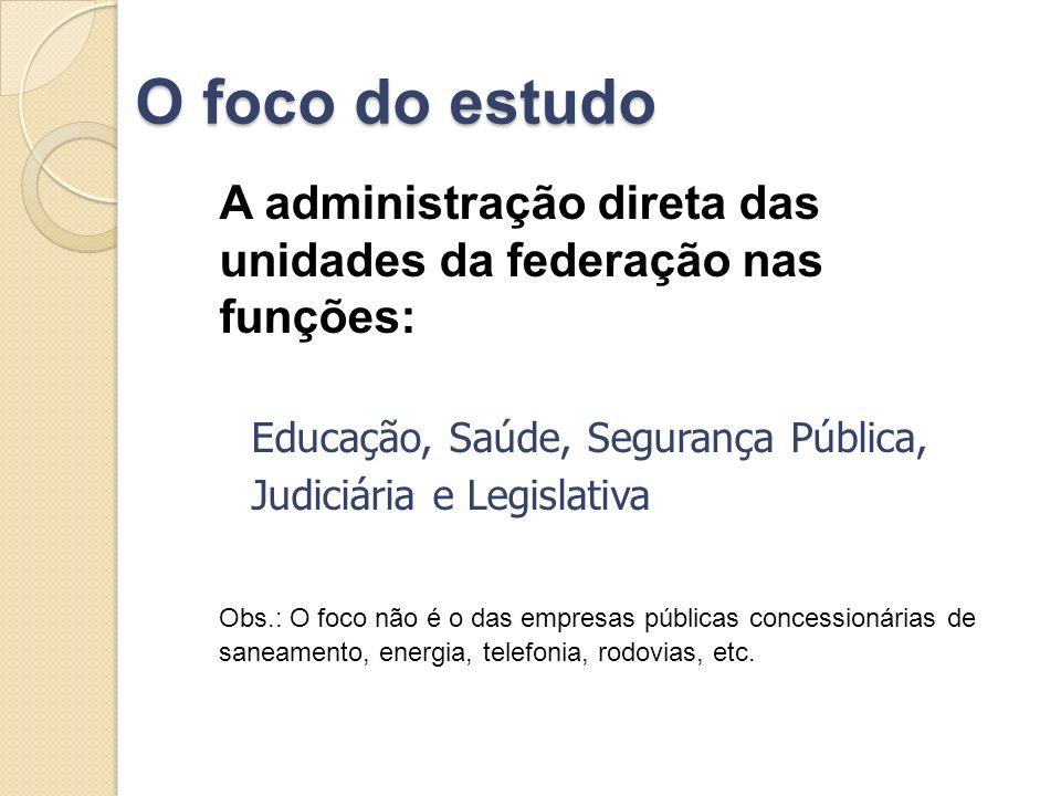 O foco do estudo A administração direta das unidades da federação nas funções: Educação, Saúde, Segurança Pública,