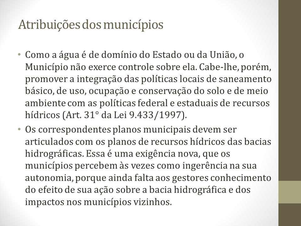 Atribuições dos municípios