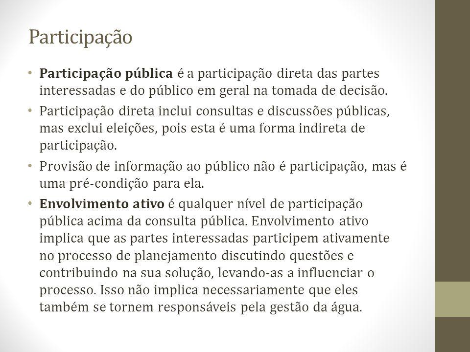 Participação Participação pública é a participação direta das partes interessadas e do público em geral na tomada de decisão.