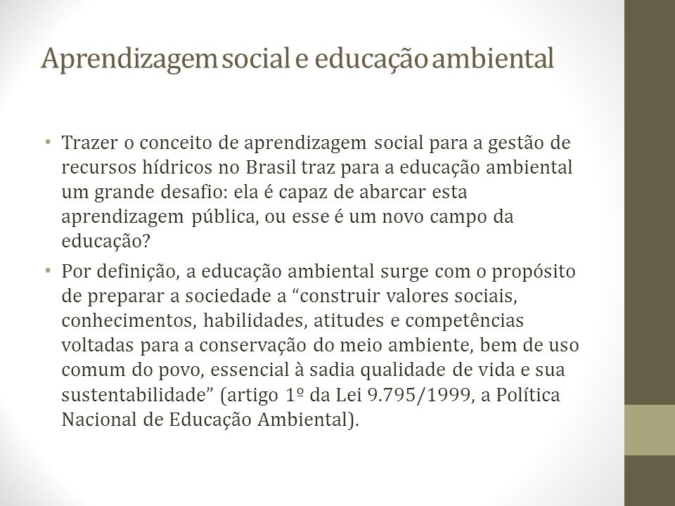 Aprendizagem social e educação ambiental