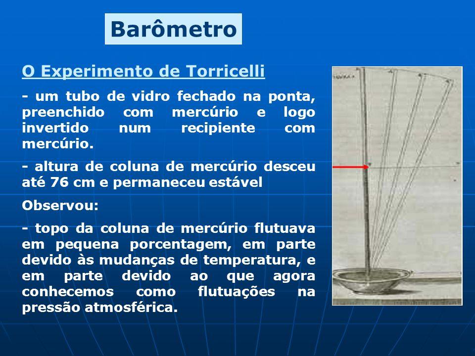 Barômetro O Experimento de Torricelli