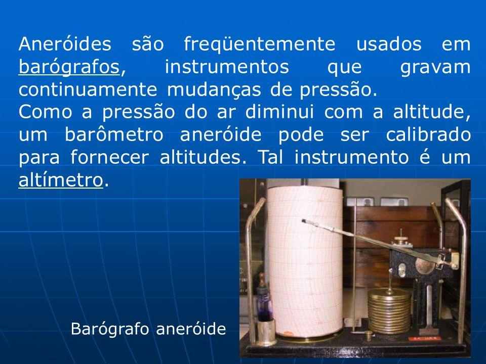 Aneróides são freqüentemente usados em barógrafos, instrumentos que gravam continuamente mudanças de pressão.