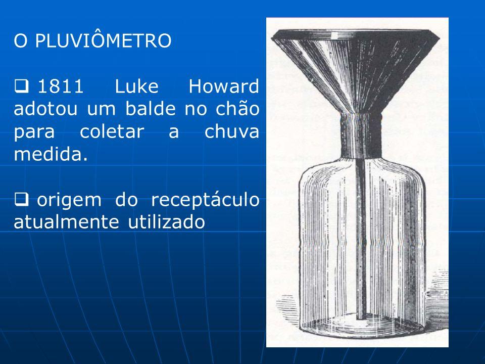 O PLUVIÔMETRO 1811 Luke Howard adotou um balde no chão para coletar a chuva medida.