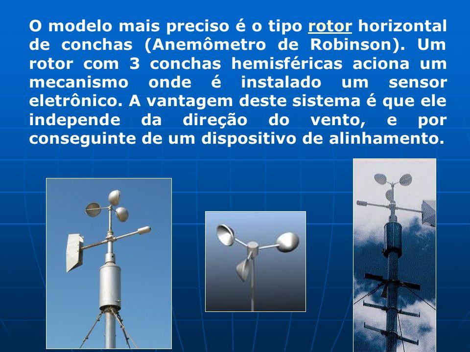 O modelo mais preciso é o tipo rotor horizontal de conchas (Anemômetro de Robinson).