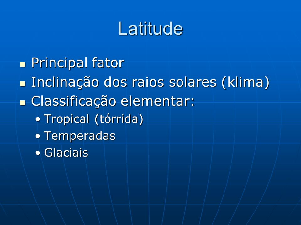 Latitude Principal fator Inclinação dos raios solares (klima)