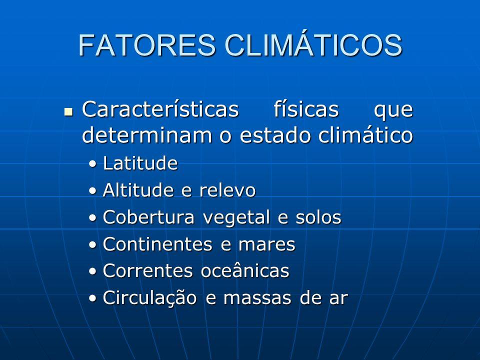 FATORES CLIMÁTICOS Características físicas que determinam o estado climático. Latitude. Altitude e relevo.