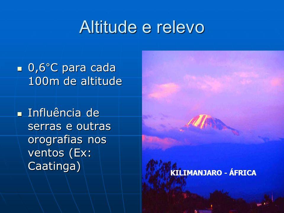 Altitude e relevo 0,6°C para cada 100m de altitude