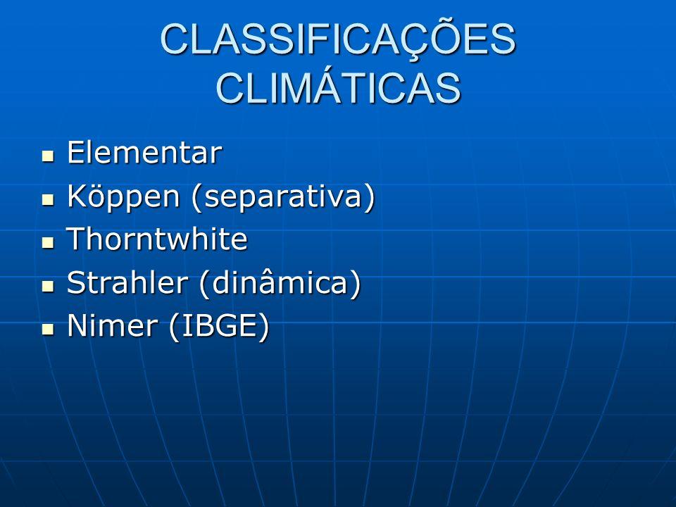 CLASSIFICAÇÕES CLIMÁTICAS