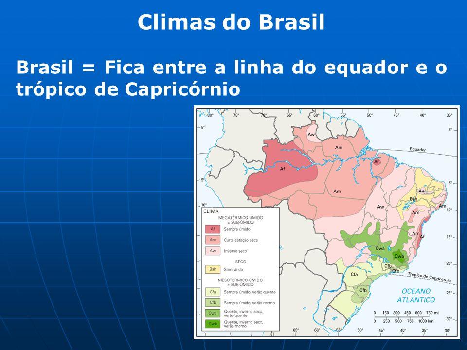 Climas do Brasil Brasil = Fica entre a linha do equador e o trópico de Capricórnio
