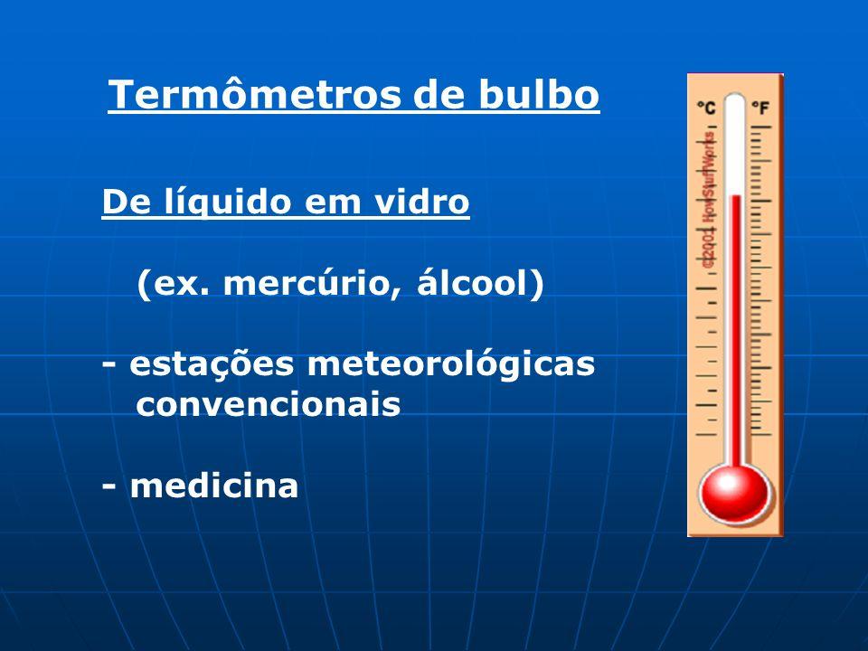 Termômetros de bulbo De líquido em vidro (ex. mercúrio, álcool)