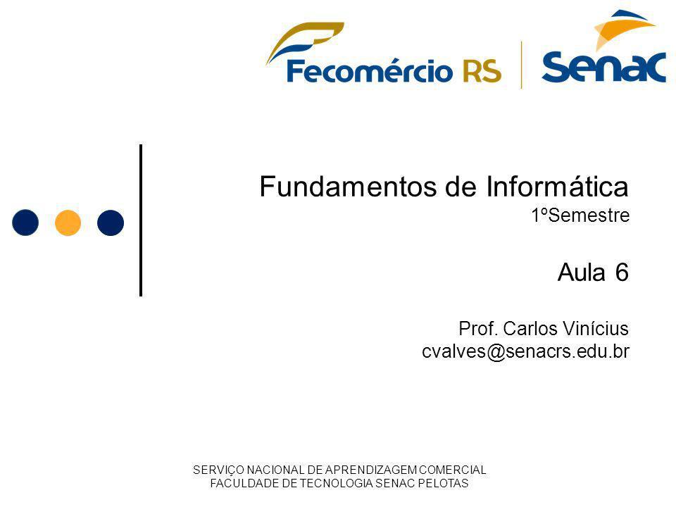Fundamentos de Informática 1ºSemestre Aula 6 Prof