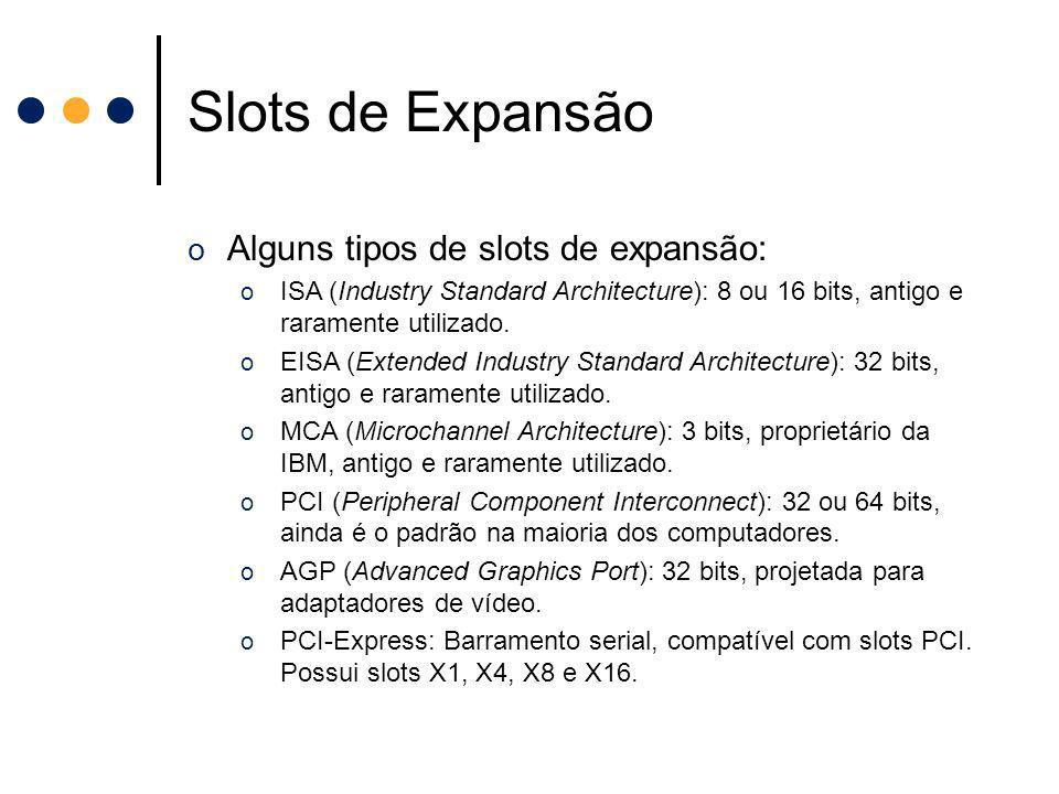 Slots de Expansão Alguns tipos de slots de expansão:
