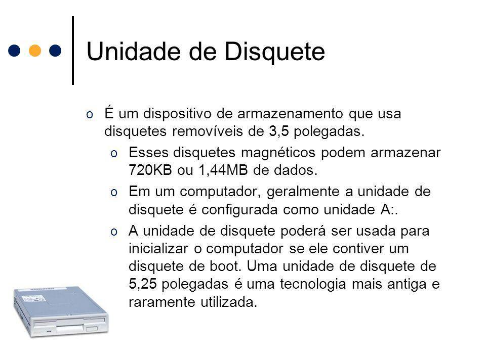 Unidade de Disquete É um dispositivo de armazenamento que usa disquetes removíveis de 3,5 polegadas.
