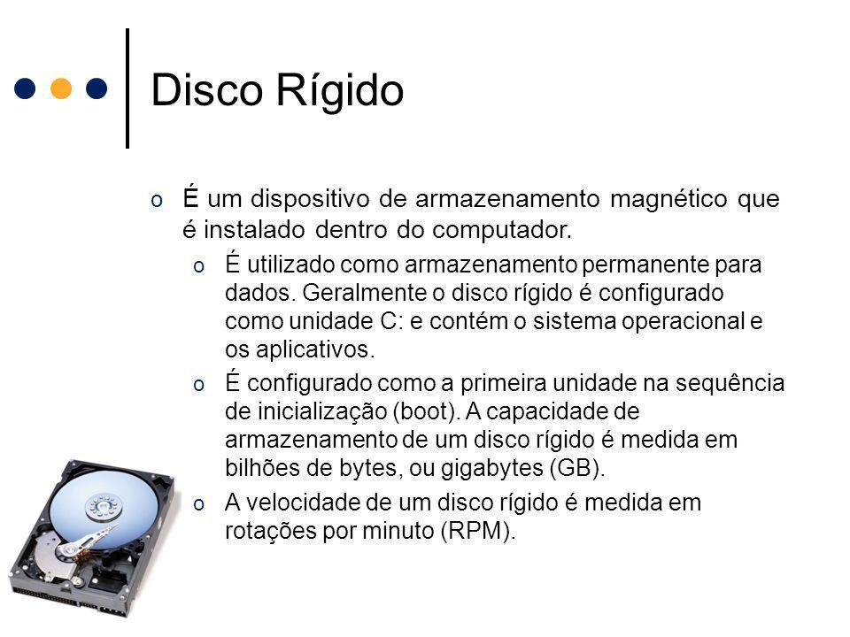 Disco Rígido É um dispositivo de armazenamento magnético que é instalado dentro do computador.