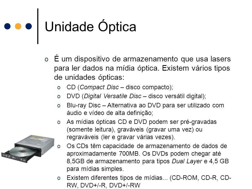 Unidade Óptica É um dispositivo de armazenamento que usa lasers para ler dados na mídia óptica. Existem vários tipos de unidades ópticas:
