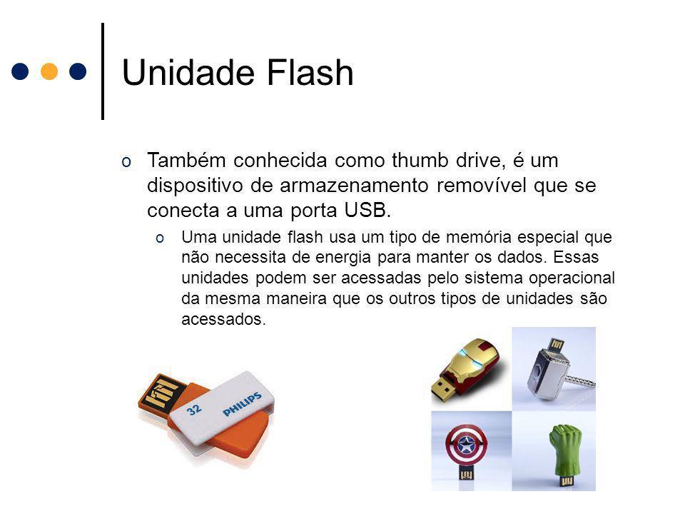Unidade Flash Também conhecida como thumb drive, é um dispositivo de armazenamento removível que se conecta a uma porta USB.