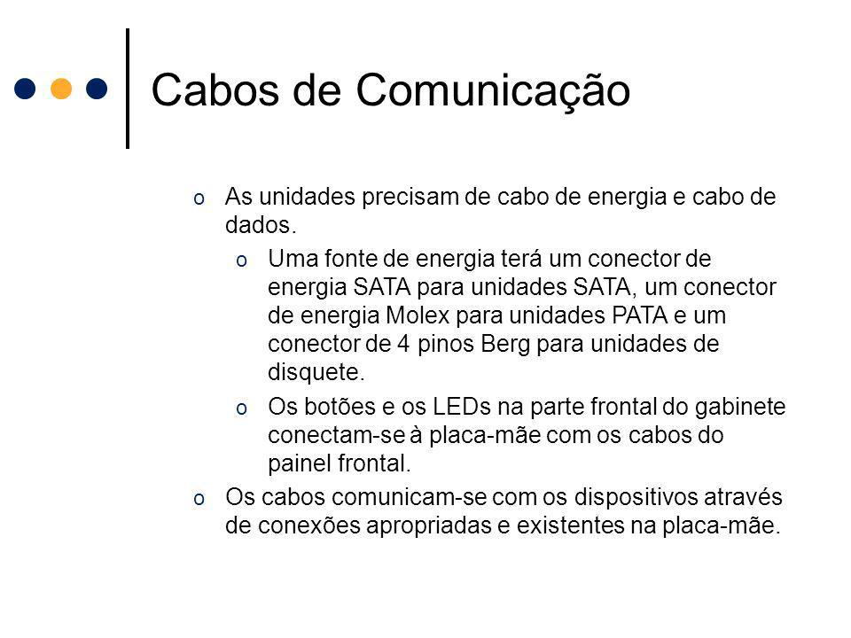 Cabos de Comunicação As unidades precisam de cabo de energia e cabo de dados.