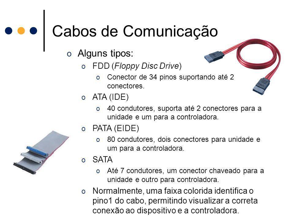 Cabos de Comunicação Alguns tipos: FDD (Floppy Disc Drive) ATA (IDE)