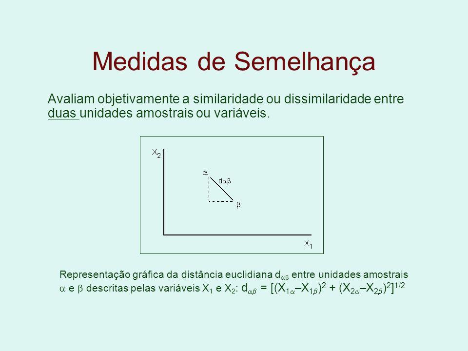 Medidas de Semelhança Avaliam objetivamente a similaridade ou dissimilaridade entre duas unidades amostrais ou variáveis.