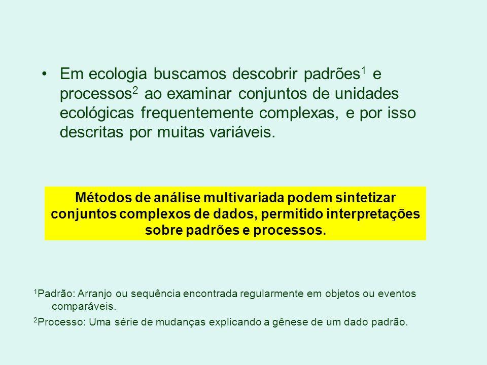 Em ecologia buscamos descobrir padrões1 e processos2 ao examinar conjuntos de unidades ecológicas frequentemente complexas, e por isso descritas por muitas variáveis.