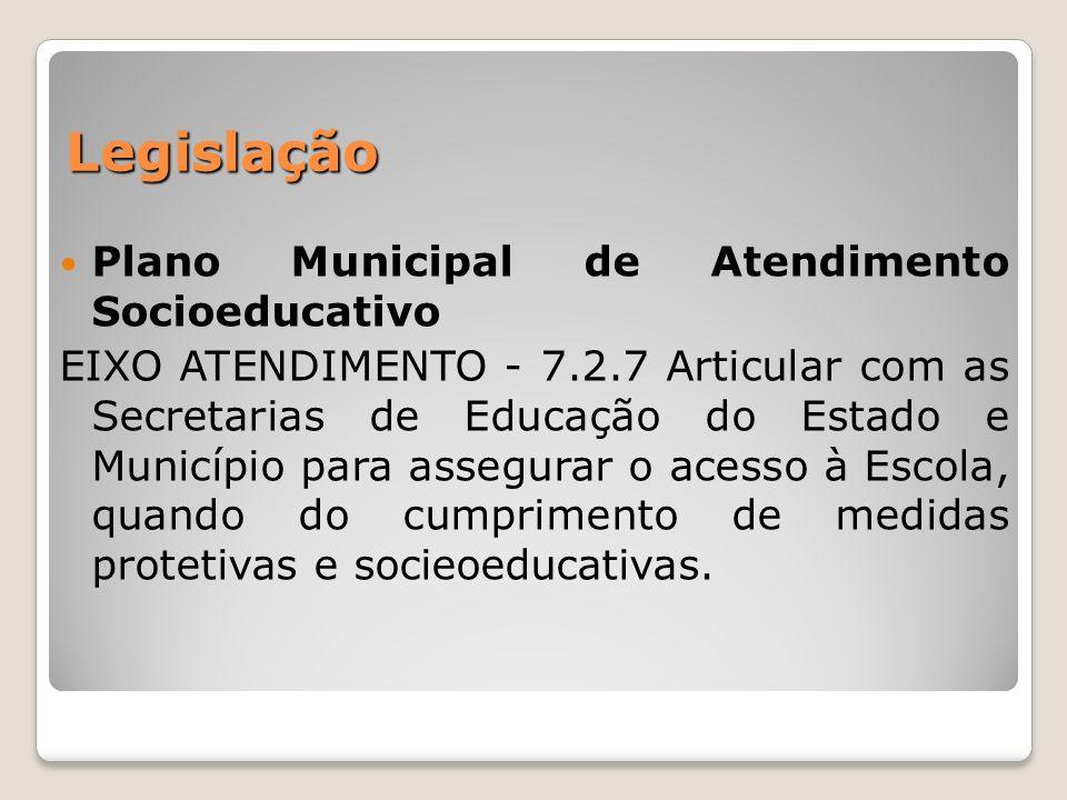 Legislação Plano Municipal de Atendimento Socioeducativo
