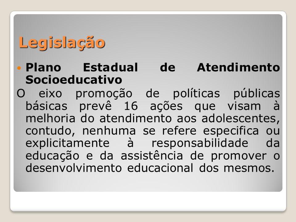 Legislação Plano Estadual de Atendimento Socioeducativo