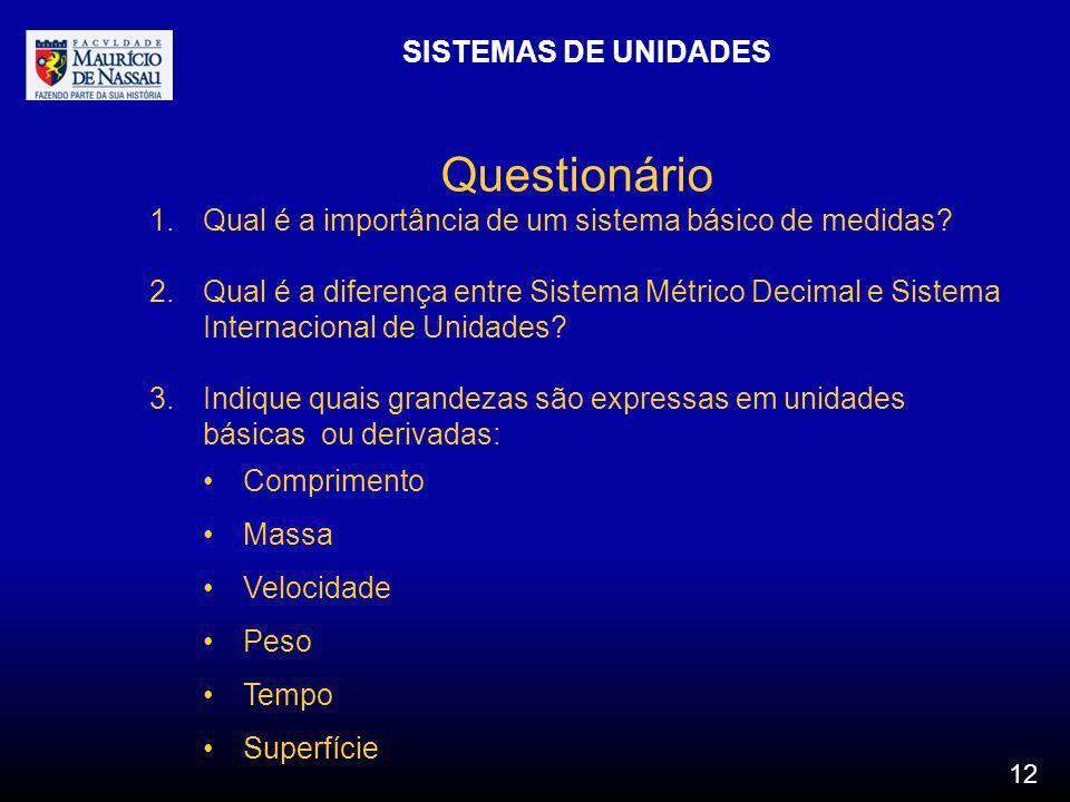 Questionário SISTEMAS DE UNIDADES