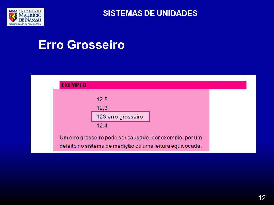 SISTEMAS DE UNIDADES Erro Grosseiro 12